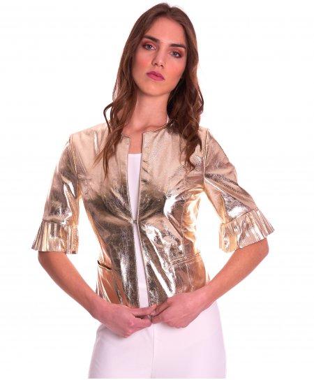 CLEAR PLISSE • colore oro • giacca in pelle manica plissé nappa laminata
