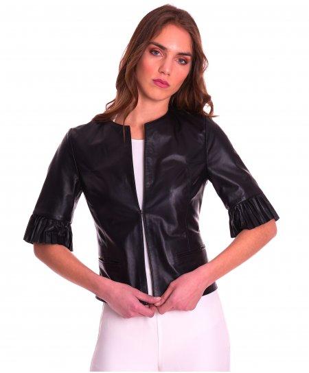 CLEAR PLISSE • colore nero • giacca in pelle manica plissé nappa effetto liscio