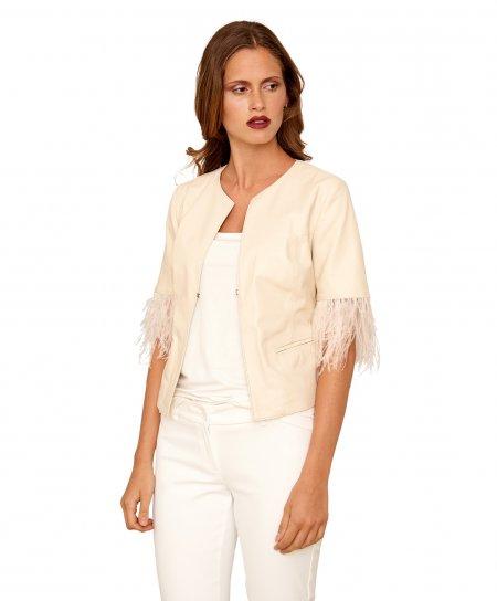 MISS PIUMA • colore beige • giacca corta in pelle girocollo nappa effetto liscio