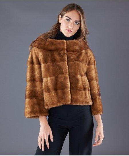 Giacca in pelliccia di visone collo vulcano • colore miele