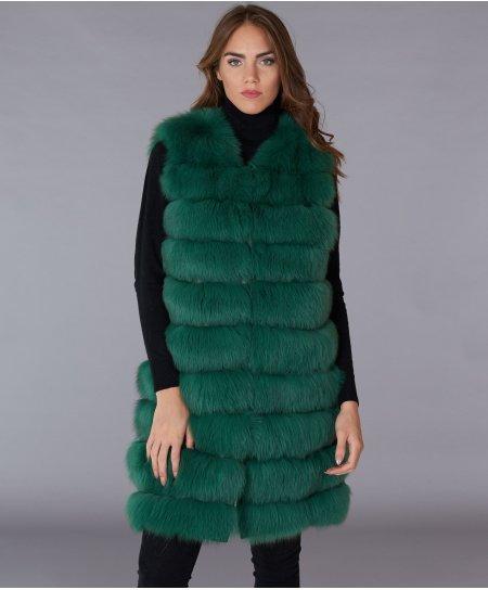 Smanicato in pelliccia volpe con chiusura gancio • colore verde