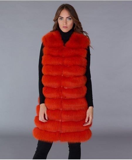 Smanicato in pelliccia volpe con chiusura gancio • colore arancio