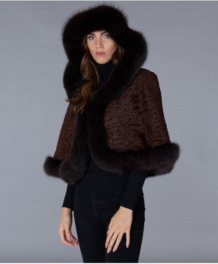 Mantella in pelliccia di persiano e bordi in volpe • colore mogano