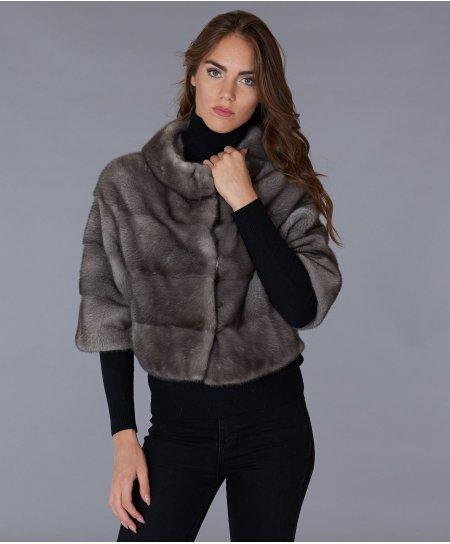 Giacca in pelliccia di visone collo anello • colore grigio