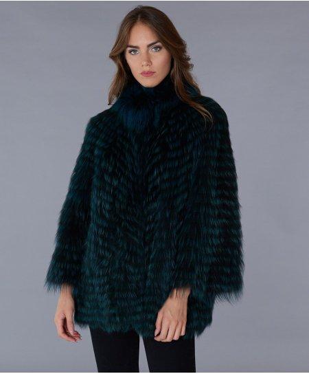 Mantella in pelliccia di volpe filettata collo anello • colore verde