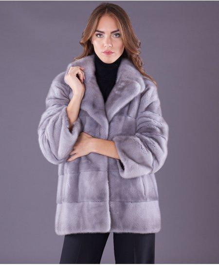 Giacca in pelliccia di visone collo giacca • colore zaffiro