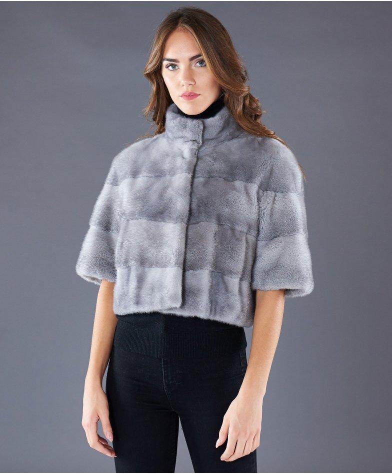Giacca in pelliccia di visone collo coreana • colore zaffiro