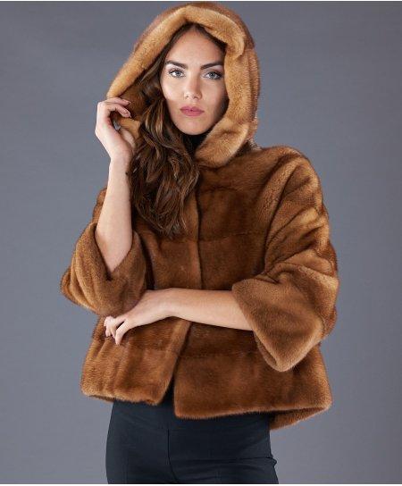 Giacca in pelliccia di visone con cappuccio • colore miele