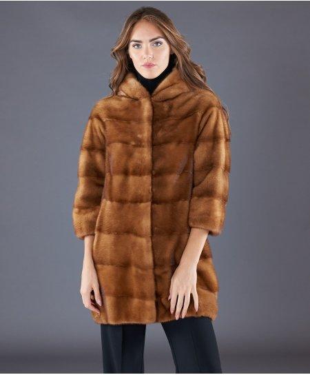 Cappotto in pelliccia di visone con cappuccio • colore miele