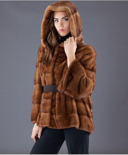 Giacca in pelliccia di visone con cintura e cappuccio • colore miele