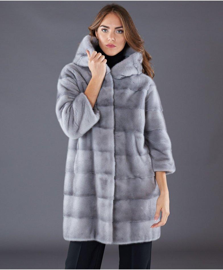 Cappotto in pelliccia di visone con cappuccio • colore zaffiro