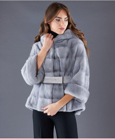 Giacca in pelliccia di visone con cintura e cappuccio • colore zaffiro
