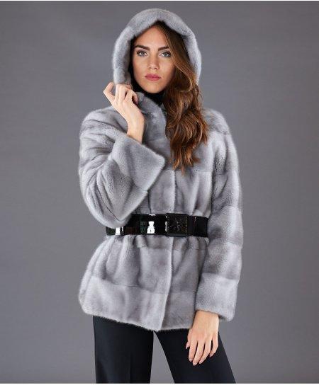 Giacca in pelliccia di visone con cappuccio • colore zaffiro
