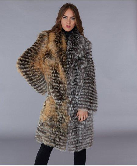 Cappotto in pelliccia di volpe filettata collo a V • colore marrone nero