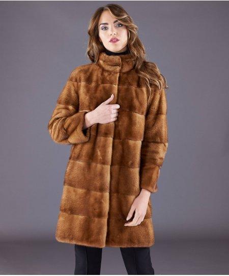 Cappotto in pelliccia di visone collo anello • colore miele