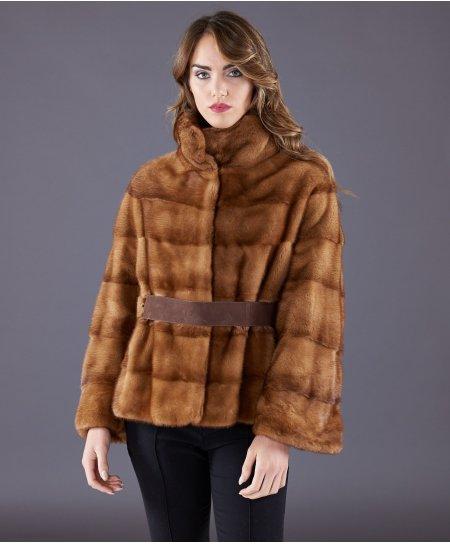 Giacca in pelliccia di visone con manica 3/4 e cintura • colore miele