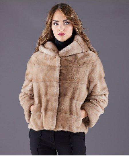 Giacca in pelliccia di visone con cappuccio • colore palominio