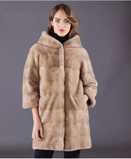 Cappotto in pelliccia di visone con cappuccio • colore palomino