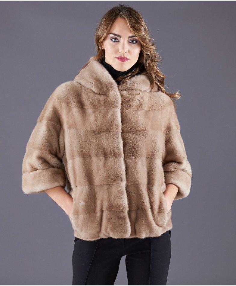 Giacca in pelliccia di visone con cappuccio • colore palomino