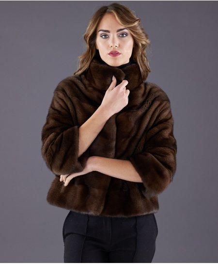 Giacca in pelliccia di visone manica 3/4 • colore mogano