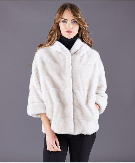 Giacca in pelliccia di visone con cappuccio • colore perla