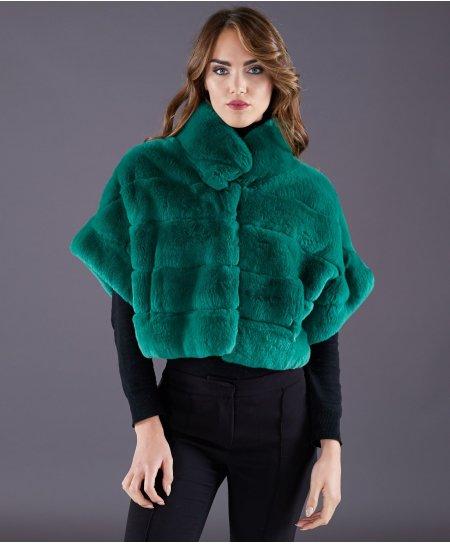 Giacca in pelliccia rex rabbit manica corta • colore verde