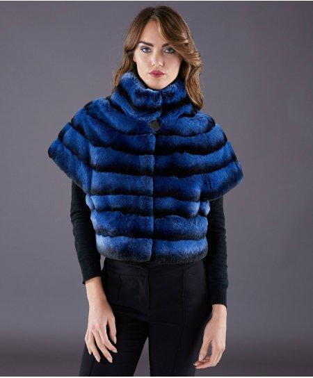 Giacca in pelliccia rex rabbit righe orizzontali • colore blu