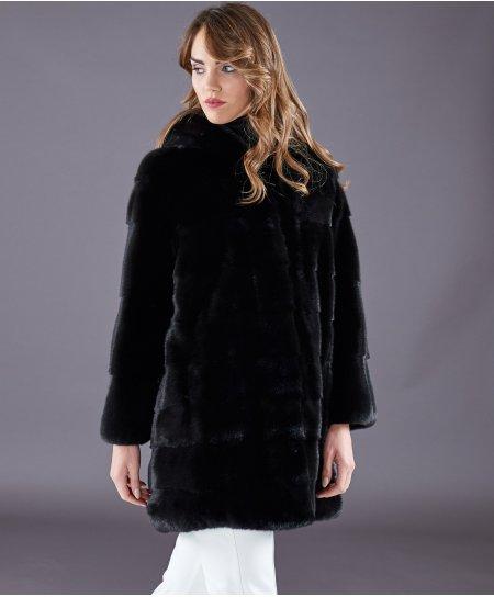 Cappotto in pelliccia di visone con cappuccio • colore nero
