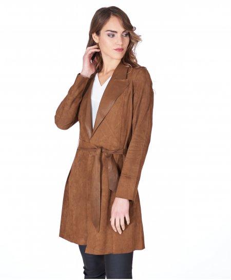 Cappotto in pelle camoscio cuoio con cintura