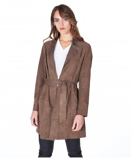 Cappotto in pelle camoscio oliva con cintura