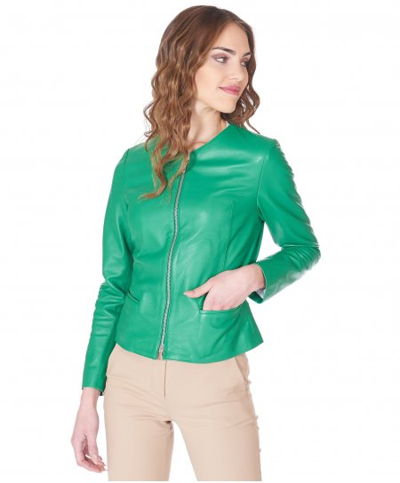 Giacca in pelle verde girocollo nappa effetto liscio