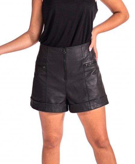 Pantaloncino sfoderato in pelle nera naturale effetto vintage
