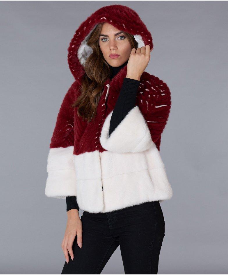Giacca in pelliccia di visone con cappuccio • colore rosso