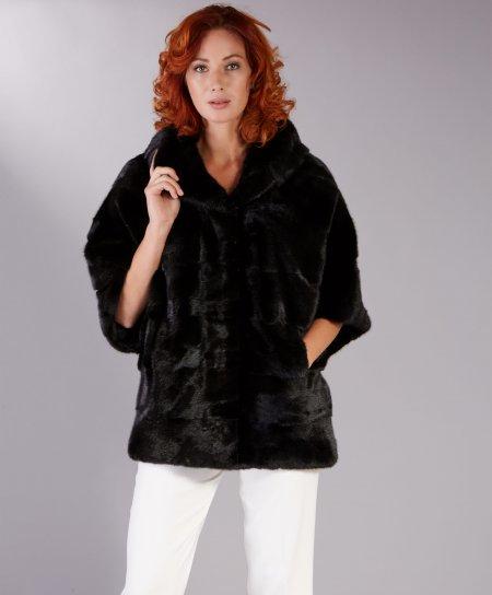 Giacca in pelliccia di visone con cappuccio • colore nero