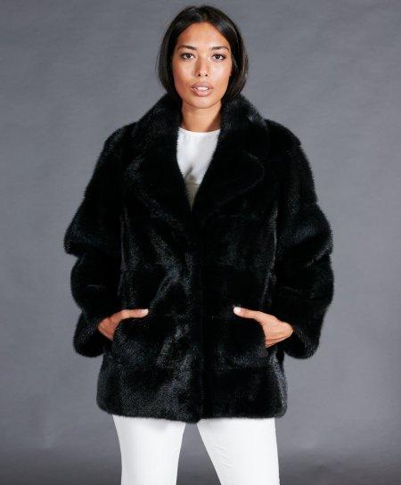 Giacca in pelliccia di visone collo giacca • colore nero