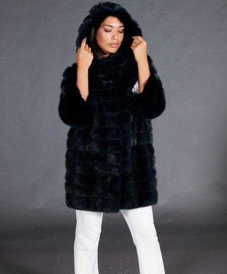 Cappottino in pelliccia di visone con cappuccio e manica 3/4 • colore blu scuro