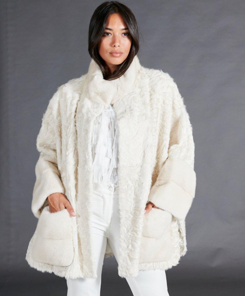 Cappotto in pelliccia visone e agnello persiano • colore perla