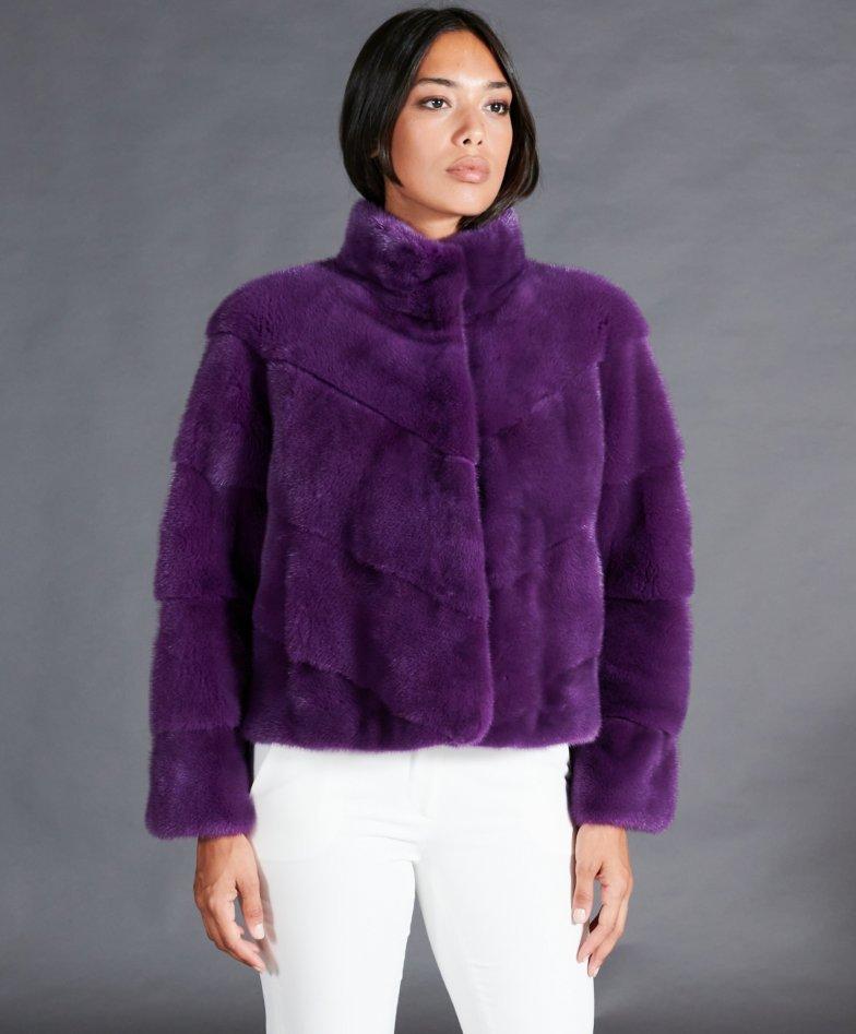 Giacca in pelliccia di visone collo anello • colore viola