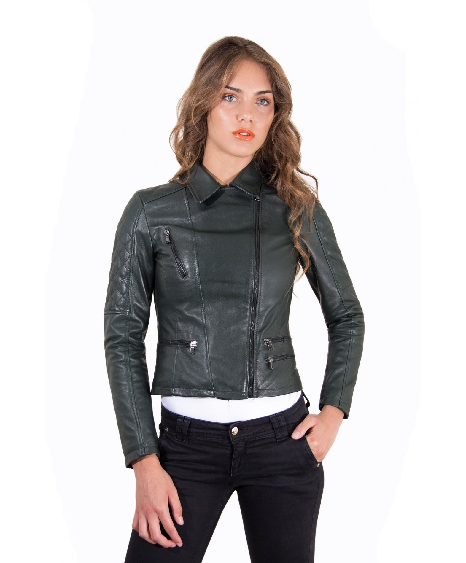 the latest 75d32 475d6 NADIA • colore verde • giacca chiodo in pelle trapuntata ...