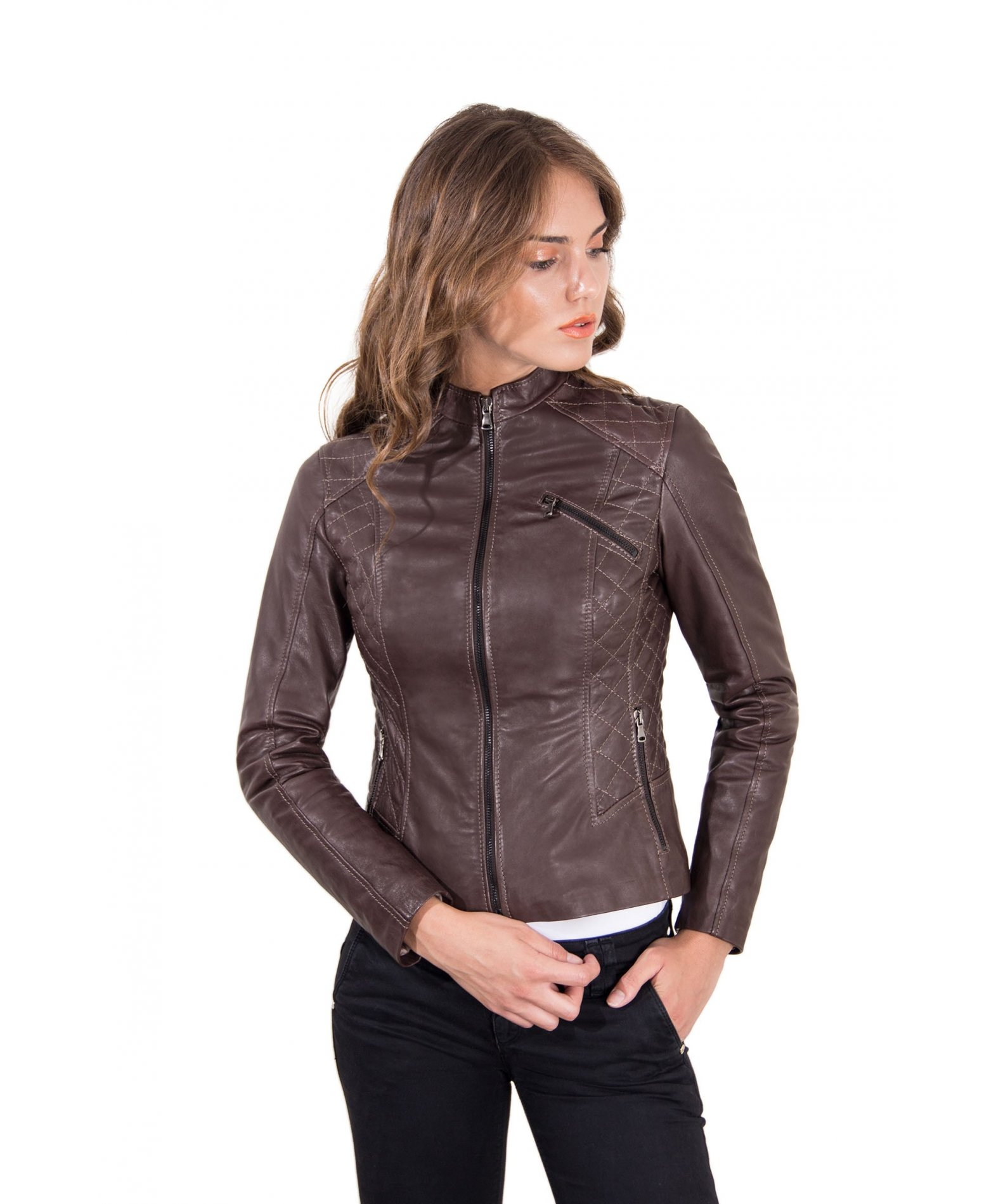 new products 4bb28 61165 Chiodo Biker in pelle testa di moro donna bogotà effetto vintage