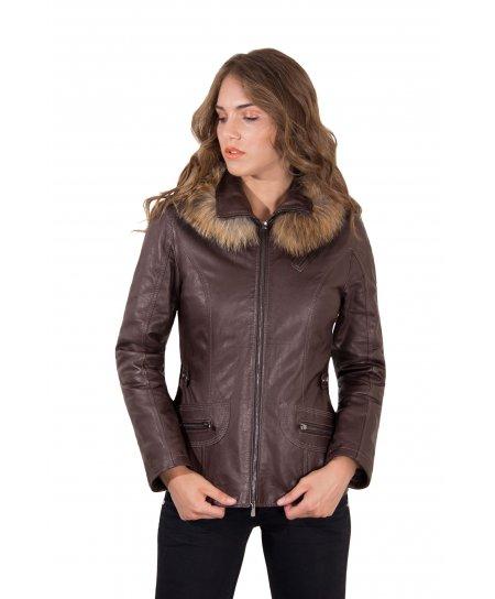 627 • couleur marron foncée • parka avec capuche fourrure cuir d'agneau aspect vintage