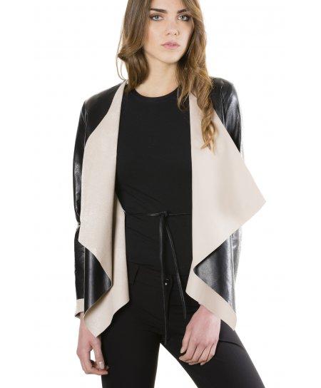Monic • colore nero • giacca in pelle nappa effetto liscio