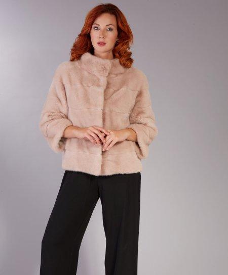 Giacca in pelliccia di visone collo anello • colore cipria