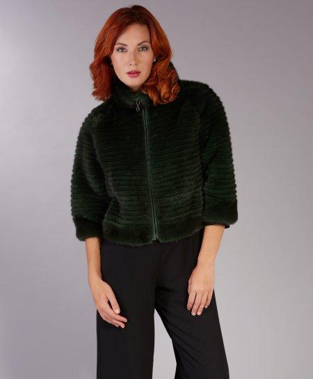 Giacca in pelliccia di visone filettato con cerniera • colore verde