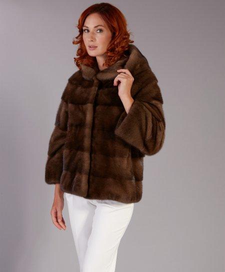 Giacca in pelliccia di visone • colore marrone